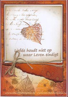 Met Magenta Poplar Leaf, distressinkten in herfstkleuren en tekst van Leuke Stempels sheet 3.
