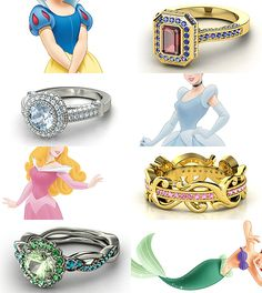 Rings inspired by the Disney Princesses - Part I: Snow White, Cinderella, Aurora, and Ariel - the Ariel and Cinderella rings are beautiful!