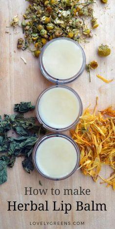 How to make Herbal Lip Balm using dried herbs and rich oils #herbs #beautydiy #lipbalmrecipe #peppermint #chamomile #calendula #beautyrecipe