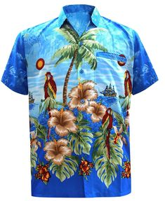 00577de1 LA LEELA Men's Aloha Hawaiian Shirt Short Sleeve Button Down Casual Beach  Party
