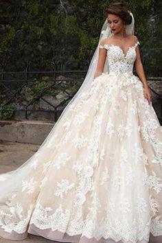 Glamorous Cap Sleeves Lace Tops Wedding Dress with Court Train, PW171 #weddingdress