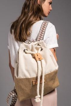 Beige Hermosa - Canvas Backpack by Vinge Project Fabric Handbags, Fabric Bags, Bag Women, Stylish Backpacks, Leather Backpacks, Creation Couture, Diaper Bag Backpack, Kids Bags, Canvas Leather