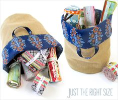Slightly Slouchy Storage Baskets in Burlap & Cotton | Sew4Home