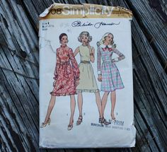 Simplicity 5008 1970s 70s Ruffled Dress Vintage Sewing Pattern Size 8 Bust 31.5