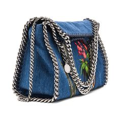 Stella McCartney Falabella Mini Embroidered Tote (1'090 CHF) ❤ liked on Polyvore featuring bags, handbags, tote bags, blue handbags, man bag, stella mccartney tote, handbags totes and blue totes