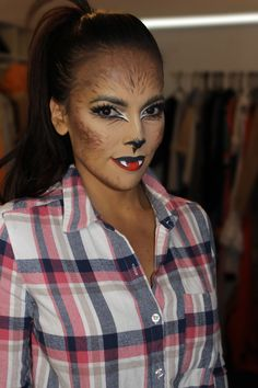 Cute werewolf halloween makeup. Something simple and the kids will love it ;).