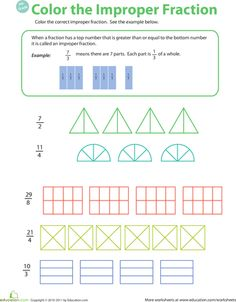 Worksheets: Introduction to Improper Fractions #2 (Week 4, Fractions)