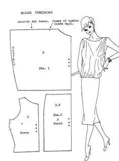 moldes de vestidos drapeados en costados