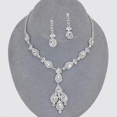 Elegant Bridal Wedding Prom SILVER & CLEAR Costume Rhinestone Necklace Set #ChristinaCollection