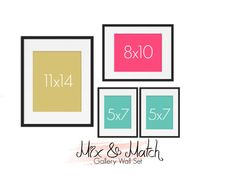 Mix N' Match, Build Your Own Set, Gallery Wall Art Prints, Wall Decor, Home Decor, Wall Art, (1) 11x14, (1) 8x10, (2) 5x7, Customized Colors