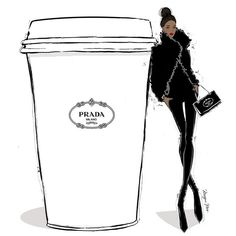 Prada by Megan Hess Fashion Prints, Fashion Art, Fashion Beauty, Fashion Design, Paper Fashion, Fashion Brand, Trendy Fashion, Megan Hess Illustration, Coffee Illustration