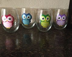 Give a Hoot SET of 4 Handpainted Owl Stemless Wine Glasses