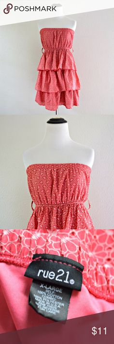 """Rue 21 Pink Tiered Strapless Dress Pink tiered strapless dress from Rue 21. Has floral design. Elastic top and waistband. Has belt loops but doesn't come with belt.  