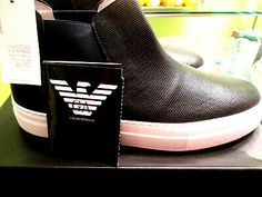 BLACK LABEL EMPORIO ARMANI-SUPER COOL NAVY PIN HOLE HI TOP-12 #fashion #clothing #shoes #accessories #men #mensshoes (ebay link) Pin Hole, Driving Shoes, Gold Stars, Emporio Armani, Black Pants, Casual Pants, Men's Shoes, Label, Vans