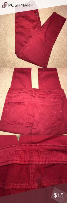 AEO Skinny Jegging American Eagle Outfitters Super Stretch Jefging in burgundy- great jeggings for fall- great condition, worn once!- size 8 American Eagle Outfitters Jeans Skinny