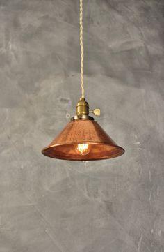 Weathered Copper Pendant Lamp - Vintage Industrial Hanging Light