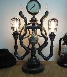 Steampunk Lamp Light Industrial Art Machine Age Salvage Steam Gauge