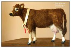 Cow, Needle felting Jersey Cow, Cow decor, felted cow, needle felting animals…