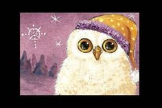 Baby owl ACEO in his Yellow Hat Print