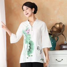 Pretty Cotton Flax Open Neck Chinese Blouse - Lotus B - Chinese Shirts & Blouses - Women