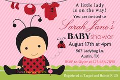 Ladybug Baby Shower Invitation, Ladybug Invite for baby shower, pink and red on Etsy, $12.00