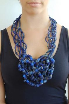 "ALEXANDRA ""Ali"" AMARO-USA, Oceania Woven Trade Bead Necklace, 2013, necklace, glass, lapis lazuli, shell, sterling silver, 14 x 8 x 2 inches, photo: Ali Amaro"