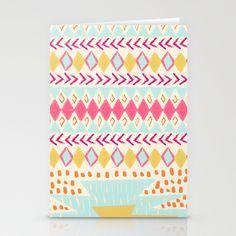 NATIVE PLAYGROUND Stationery Cards by Nika  - $12.00 #kids #stationery #card #birthday #colorful #gift #society6 #native #tribal #colorplay #cute #nikamartinez #society6