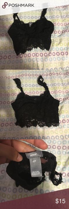 Lace Bralette Black lace bralette! Size small! From aerie by American eagle! No cup padding! Adjustable straps! Black! Never worn before! Basically new! No rips in perfect conditions! aerie Intimates & Sleepwear