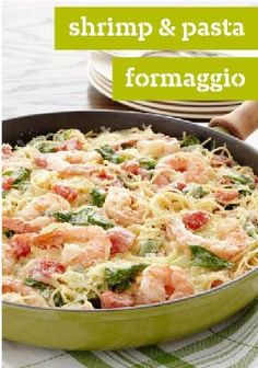 Shrimp  Pasta Formaggio – This 20 minute recipe is the only thing standing between you and the dinner table. Kraft Recipes, Fish Recipes, Seafood Recipes, Dinner Recipes, Cooking Recipes, Healthy Recipes, Kraft Foods, Pasta Recipes, Dinner Ideas