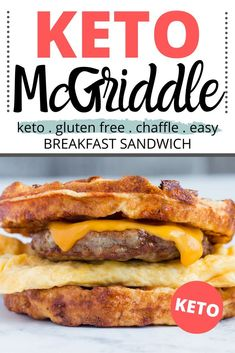 Keto McGriddle Breakfast Sandwich Recipe - This is an easy keto breakfast sandwich you can meal prep ahead of time. They are freezer safe and can reheat in the microwave. The keto bread is made out of Low Carb Keto, Low Carb Recipes, Diet Recipes, Keto Carbs, Steak Recipes, Chili Recipes, Copycat Recipes, Recipes Dinner, Smoothie Recipes