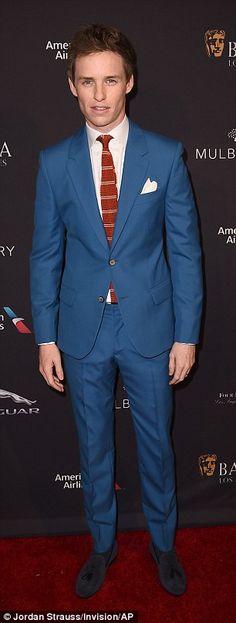 Eddie Redmayne looked dapper in his blue suit