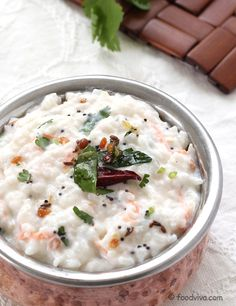 Curd Rice Recipe - South Indian style Yogurt Rice with Urad Dal Tempering - Curd Rice Recipe – Simple Rice Dish with Plain Yogurt (dahi/curd) and Basic Spices - Veg Recipes, Indian Food Recipes, Vegetarian Recipes, Cooking Recipes, Healthy Recipes, Ethnic Recipes, Cooking Dishes, Indian Foods, Rice