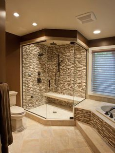 Love this bathroom setup and the bench idea in the shower! I'd never leave!... For Master Bath