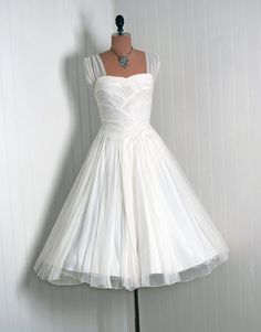 1950's Vintage IvoryWhite Ruched by TimelessVixenVintage on Etsy, $350.00