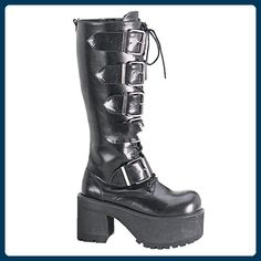 6e26ec12da70cd Demonia Ranger 318 Mens Black Patent Chunky Heel Lace-up Knee Boots with  Buckle Straps