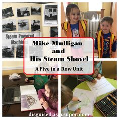 Five in a Row activities for Mike Mulligan and His Steam Shovel - preschool, kindergarten and elementary school ideas Preschool Activities At Home, Homeschool Preschool Curriculum, Sensory Activities Toddlers, Hands On Activities, Homeschooling, Reading Activities, Five In A Row, The Row, Family Bible Study