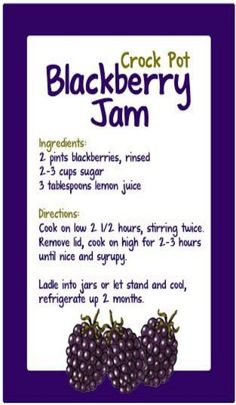 Crockpot Blackberry Jam Simple and impressive. Less sugar for more fruit flavor! Best berry I've ever tried. Huckleberry a close (yum food crock pot) Crock Pot Slow Cooker, Crock Pot Cooking, Slow Cooker Recipes, Crockpot Recipes, Crock Pots, Healthy Recipes, Healthy Nutrition, Cooking Tips, Freezer Recipes
