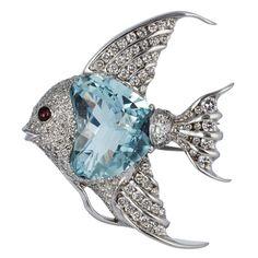 Aquamarine & Diamond Fish Pin