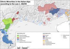 """Fig. 2: """"Minoranze linguistiche storiche"""" in the Italian Alps (according to…"""
