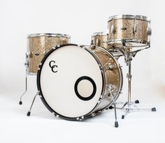C&C Drums Europe - Vintage Drums - Player Date Europe - Ginger Glass Glitter - Kit (side) www.candcdrumseurope.com