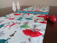 Retro Mid Century Holiday Ladies Christmas Table Runner, Hand Made by Tiki Queen