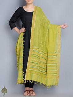 Buy Green Yellow Lambani Embroidered Cotton Dupatta with Zari Border by Jaypore Accessories Dupattas Online at Jaypore.com