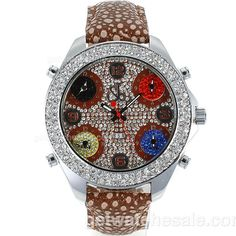 Jacob & Co Classic, Five Time Zone, Diamond Bezel, Flower Illustration, Japanese Quartz Movement, Water-Resistant, Brown Leather Band, Colorful Dial, Man Size, Stainless Steel / White Gold Case, 0.16kilogram, Free Shipping on all Orders Worldwide. getwatchesale.com Price: $108.00