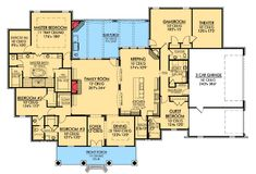 Plan French Country, Southern, European, Corner Lot House Plans & Home Designs by judy Delete the Theatre/Game Room and extend back porch all the way across. Add front porch to length of house. Country House Plans, French Country House, Dream House Plans, House Floor Plans, My Dream Home, European House, Modern Country, Country Style, Master Suite