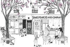 Illustration for Paris Literary Prize Website © julie morstad 2012 Shakespeare and Company Books Pen and Ink Ink Illustrations, Illustration Art, Shakespeare And Company Paris, Black And White Sketches, Vintage Photographs, Book Lovers, World, Drawings, Architecture Drawings