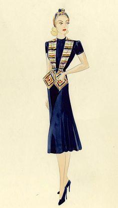 1940s Inspired Fashion, 1930s Fashion, Art Deco Fashion, Retro Fashion, Vintage Fashion, Womens Fashion, Vintage Patterns, Vintage Sewing, Fashion Illustrations