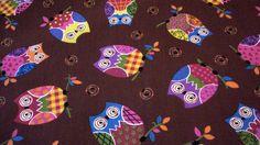Stoff ♥ Eulen ♥ braun-bunt♥  Baumwolle     Wunderschöner Stoff für deine kreative Zeit.....    Die Eulen sind ca 5 x 7 cm     *wenn mehr Meter benö...
