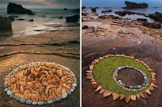 Geometric rock and leaf art on the beach