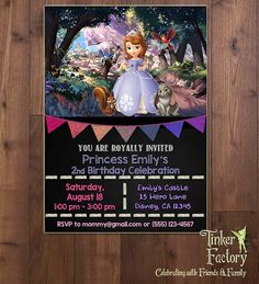 Sofia the First Birthday Party Invitation  Chalkboard