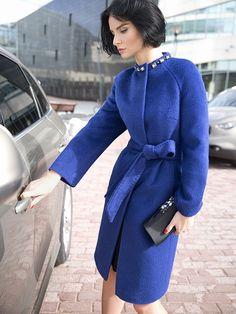 Пальто женское демисезонное цвет синий меланж, пальтовая ткань, артикул 3016670v10072